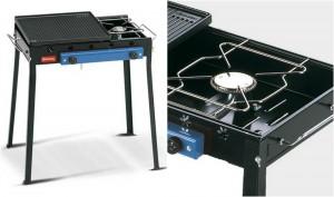 Barbecue a gas con piastra in ghisa vetrificata e fornello