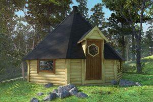 casetta da giardino in legno con barbecue