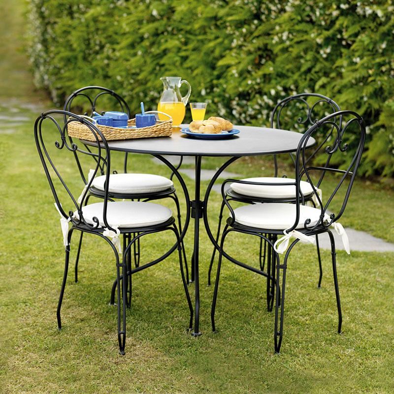 Arredogiradino tavolo sedie nere arreda il giardino for Sedie per il giardino