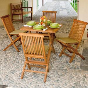 Sedia e Tavolino pieghevoli Salina in legno Teak - Cuscino Verde