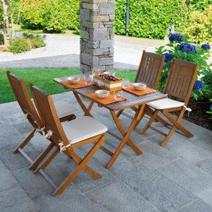 Sedia e Tavolino pieghevoli Siviglia in legno di Acacia
