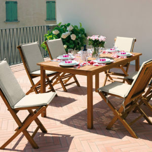 Sedia e Tavolo Salina in legno Teak - Cuscino Bianco