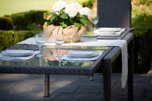 Tavolo in wicker e vetro Royal